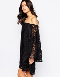 Reclaimed Vintage Off Shoulder Lace Boho Dress Black