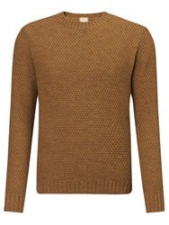 John Lewis And Co. Made In England Moss Crew Neck Jumper Wheat Airforce Blue