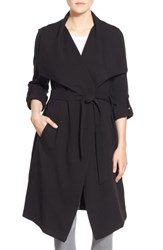 Soia And Kyo Roll Sleeve Drape Front Long Trench Coat Black