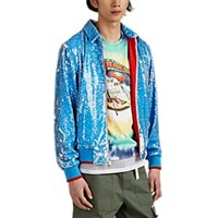 Ovadia And Sons Skeleton Print Sequined Coach's Jacket Blue