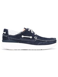 Visvim Classic Boat Shoes Men Leather Calf Suede Rubber 10.5 Blue
