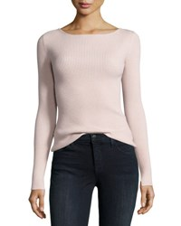 Elizabeth And James Fay Long Sleeve Ribbed Tie Back Top Pale Pink