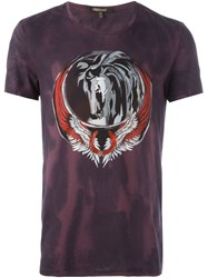 Roberto Cavalli Pegasus Print T Shirt Pink And Purple