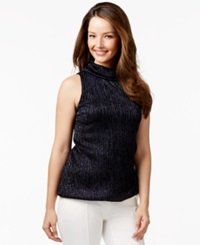 Alfani Prima Metallic Bubble Hem Top Only At Macy's Modern Navy