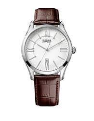 Hugo Boss Ambassador Stainless Steel Brown Leather Strap Watch 1513021