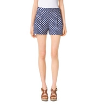 Michael Kors Ikat Pleated Cotton Sateen Shorts Prssn Clementine