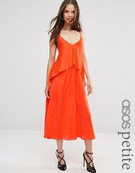 Asos Petite Tiered Crop Cami Midi Dress Hot Orange