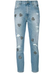 History Repeats Heart Applique Cropped Jeans Blue