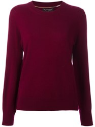 Burberry Ribbed Trim Jumper Pink Purple