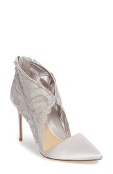 Imagine By Vince Camuto Women's Obin Lace Detailed Pointy Toe Pump Grey Mist Satin