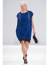 Jamie Wei Huang Leather Sleeveless Dress Blue