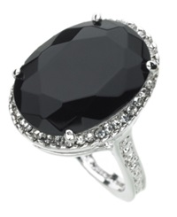 Guess Ring Silver Tone Black Crystal
