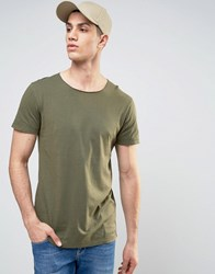 Solid T Shirt In Oil Wash With Raw Neckline Khaki Green