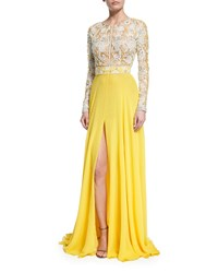 Naeem Khan Long Sleeve Beaded Silk Lace Gown Yellow Size X Large