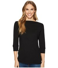 Allen Allen 3 4 Sleeve Boat Neck Black Clothing