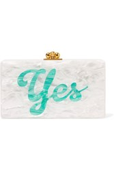 Edie Parker Jean Glittered Acrylic Box Clutch White