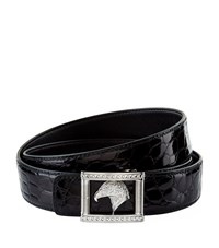 Stefano Ricci Eagle Square Buckle Crocodile Belt Unisex Black