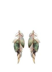 Niin 'Ajei' Mixed Shell Feather Stud Earrings Multi Colour