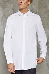 Forever 21 Slim Fit Dolphin Hem Shirt White