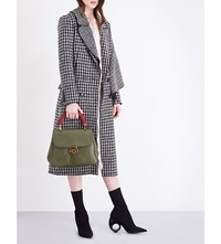 Burberry Ruffle Overlay Wool Coat Black
