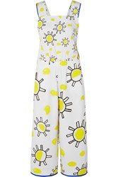 Mira Mikati Printed Cotton And Linen Blend Jumpsuit White
