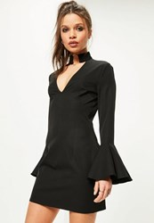 Missguided Petite Exclusive Black Frill Sleeve Choker Neck Dress