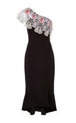 Peter Pilotto One Shoulder Flute Dress Black