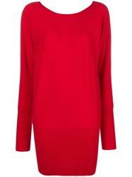 Allude Cashmere Jumper Dress Red