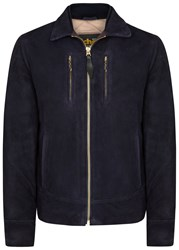 Schott Nyc Midnight Blue Suede Jacket Navy
