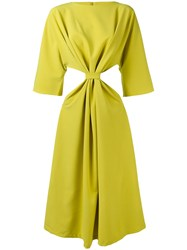 N Duo Knotted Cut Out Dress Women Cotton Polyester 38 Green