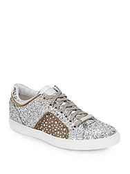 Alessandro Dell'acqua Glitter Leather Lace Up Sneakers