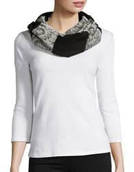 Lord And Taylor Colorblocked Paisley Scarf Black
