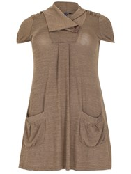 Samya Plus Size Gathered Pocket Top Brown