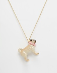 And Mary Boxed Pug Necklace Gift Goldbeige