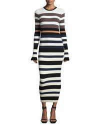 Opening Ceremony Long Sleeve Striped Maxi Dress Harvest White Multicolor