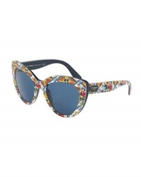 Dolce And Gabbana Floral Majolica Monochromatic Cat Eye Sunglasses Blue Blue Pattern