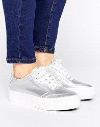 New Look Metallic Flatform Trainer Silver