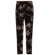 Co Floral Printed Velvet Trousers Brown