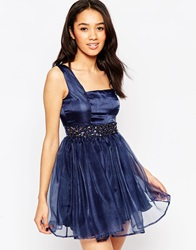 Lipstick Boutique Petite Embellished Organza Sweetheart Prom Dress Navywithemb