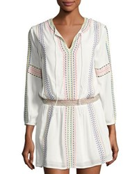 Philosophy Split Neck Embroidered Tunic Ivory