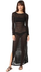 Mara Hoffman Side Slit Maxi Dress Black Mesh Stripe