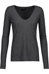 Theory Jehane Ribbed Jersey Top Anthracite