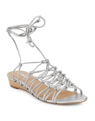 Tahari Caper Metallic Leather Cage Sandals Silver