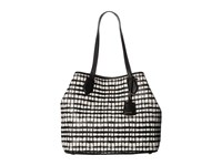 Cole Haan Abbot Tote Black White Plaid Tote Handbags