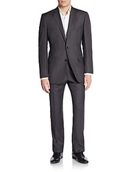 Saks Fifth Avenue Black Slim Fit Pinstripe Wool Suit Grey