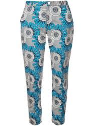 Figue Zulu Floral Cropped Trousers Blue