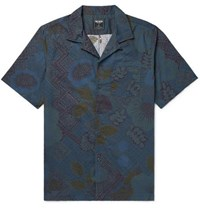 Todd Snyder Slim Fit Camp Collar Printed Cotton Shirt Navy