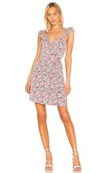 1.State 1. State Ruffle Edge Sunwashed Floral Wrap Dress In Pink. Coral Multi