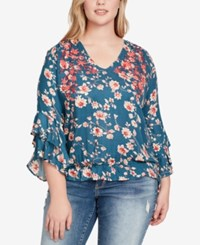 Jessica Simpson Trendy Plus Size Embroidered Top Real Teal Blossom