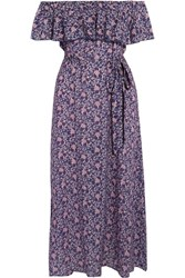 Eberjey Moon Flowers Florence Off The Shoulder Voile Midi Dress Blue Usd
